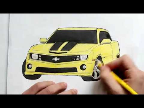 Как нарисовать машину  Chevrolet Camaro(Ehedov Elnur)How to draw Chevrolet Camaro